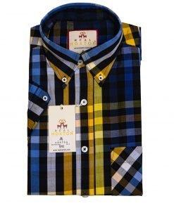 Blue Yellow Stripe Short Sleeves Shirt