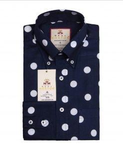 Big Polka Navy Long Sleeves Shirt