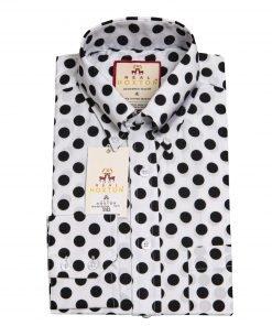 White Black Big Polka Long Sleeves Shirt
