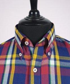 Purple Yellow Check Long Sleeve Shirt