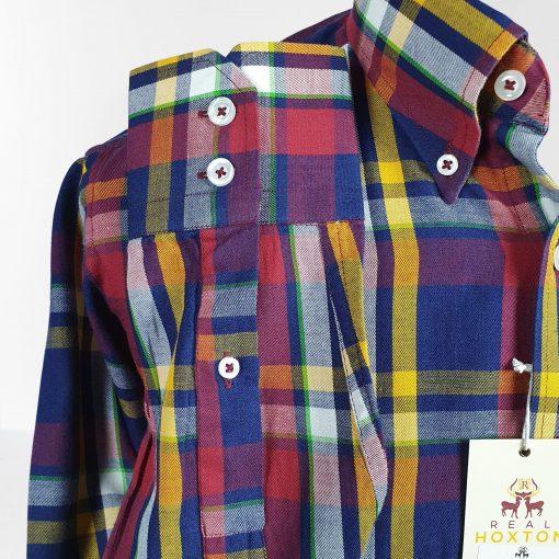 Purple Yellow Check Long Sleeves Shirt