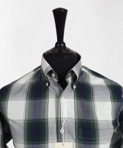 Grey Green Check Long Sleeves Shirt