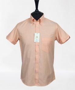 Peach Oxford Short Sleeves Shirt