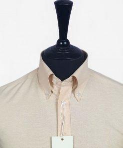 Beige Oxfor Short Sleeve Shirt