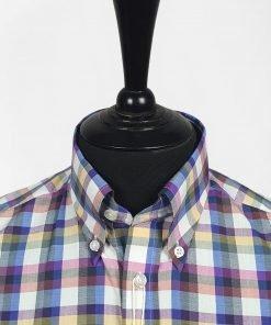 Blue Red Yellow Gingam Short Sleeves Shirt