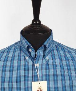 Blue Check Short Sleeves Shirt