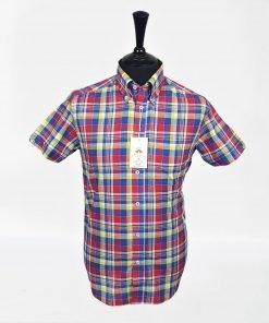 Red Blue Yellow Check Short Sleeves Shirt
