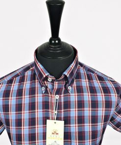 Navy Blue Red Check Short Sleeves Shirt