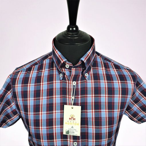 Navy Blue Red Check Short Sleeve Shirt