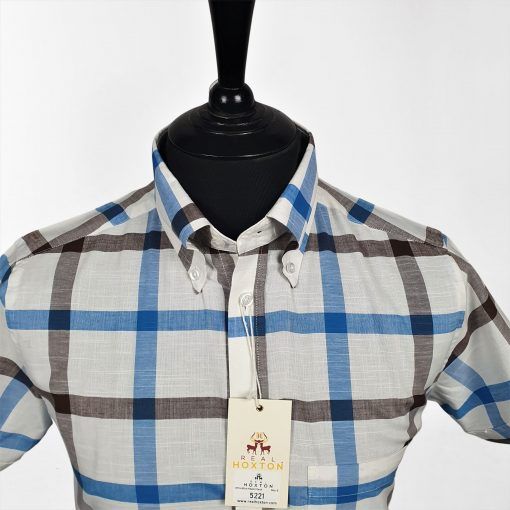 White Blue Hazel Check Short Sleeves Shirt