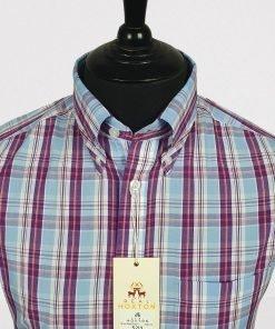 Purple Blue Orange Check Short Sleeves Shirt