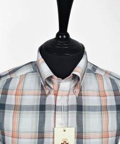 Orange White Black Check Short Sleeves Shirt