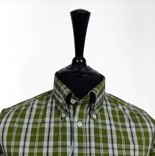 Olive Check Short Sleeves Shirt