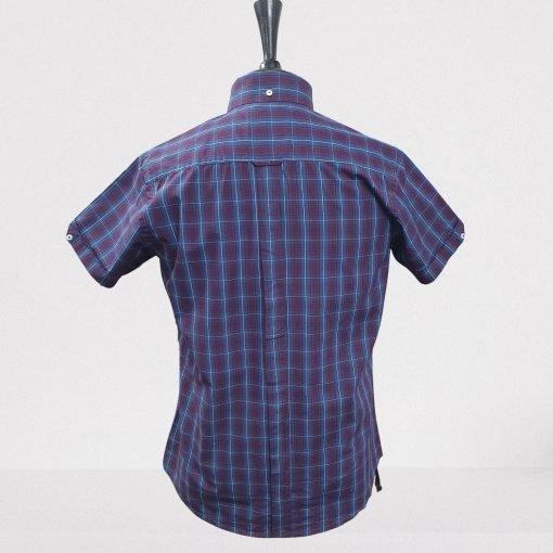 Maroon Navy Check Short Sleeves Shirt