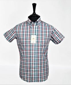 White Green Maroon Check Short Sleeves Shirt