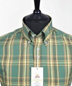Green Yellow Brown Check Short Sleeves Shirt