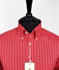 Red Black White Stripe Long Sleeves Shirt