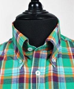 Green Purple Orange Flannel Long Sleeves Shirt