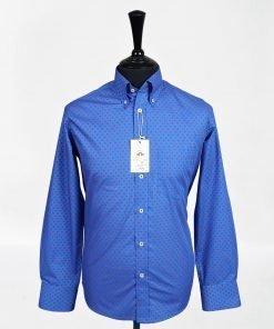 Blue Red Polka Long Sleeves Shirt