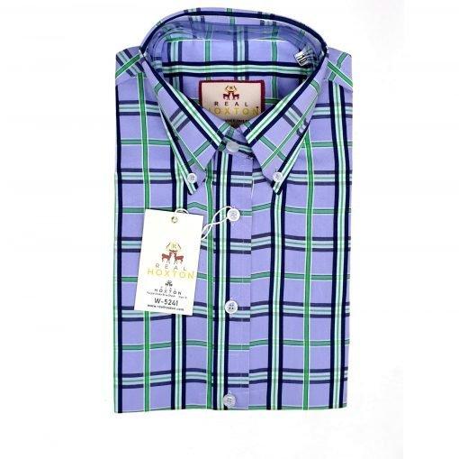 Women's Purple Green Blue Check Short Sleeves Shirt