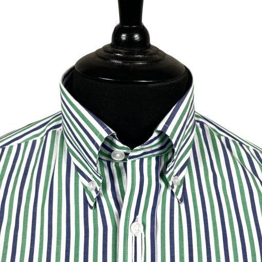 Green Purple White Stripes Long Sleeves Shirt