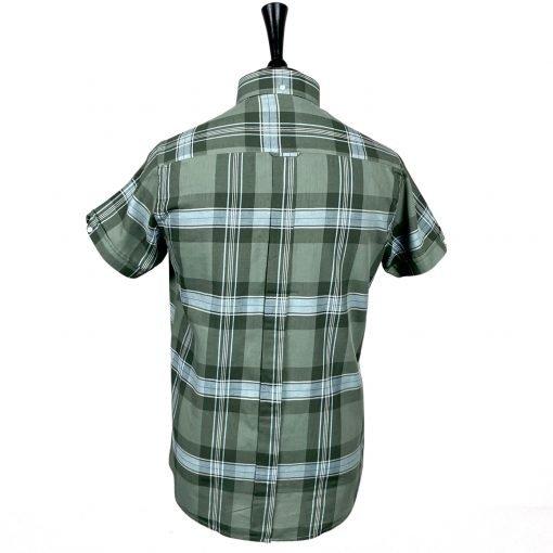 Green White Big Check Short Sleeves Shirt