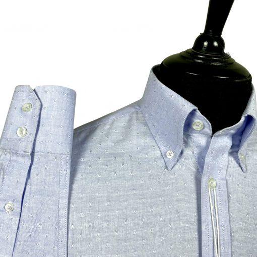 Jacquard Blue Oxford Long Sleeves Shirt