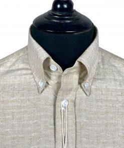 Jacquard Brown Oxford Long Sleeves Shirt
