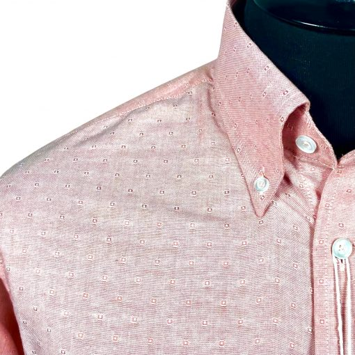 Jacquard Peach Oxford Long Sleeves Shirt