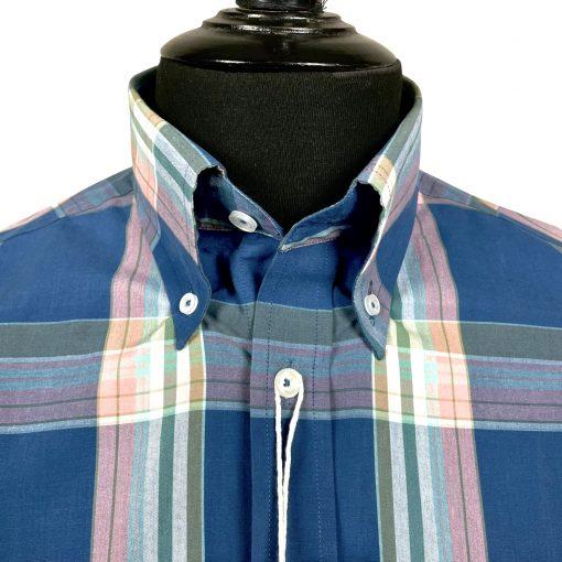 Navy Big Pink Check Short Sleeves Shirt