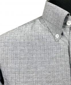 Jacquard Grey Oxford Long Sleeves Shirt