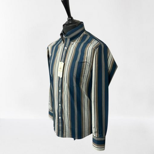 Navy Sand Stripes Long Sleeves Shirt