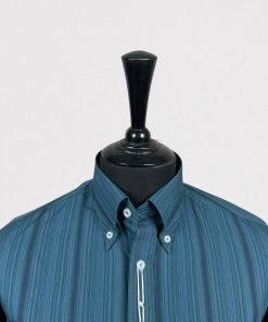 Steel Grey Emerald Stripes Long Sleeves Shirt