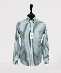 White Navy Green Stripes Long Sleeves Shirt