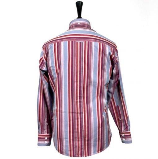 Powder Blue Maroon Stripes Long Sleeves Shirt