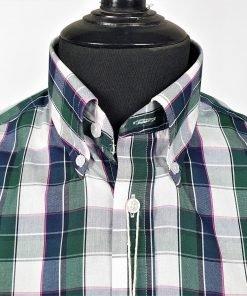 Racing Green Navy Check Short Sleeves Shirt