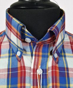 Blue Red Yellow Check Short Sleeves Shirt