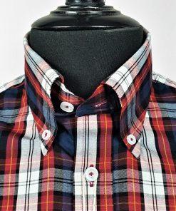 Red Navy Black Check Short Sleeves Shirt
