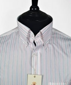 Vintage Magenta Blue Stripes Long Sleeves Shirt