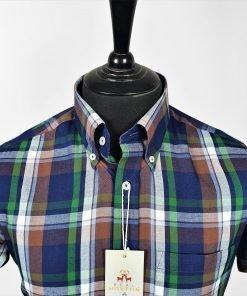 Purple Green Coffee Check Short Sleeves Shirt