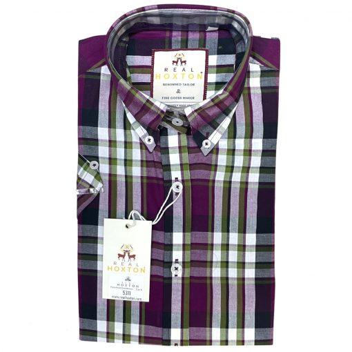 Women's Purple Forest Check Short Sleeves Shirt
