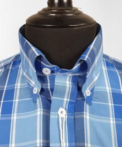 Azure Blue Check Short Sleeves Shirt