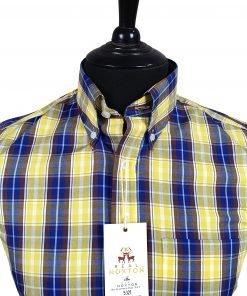 Blue Yellow Maroon Check Short Sleeves Shirt