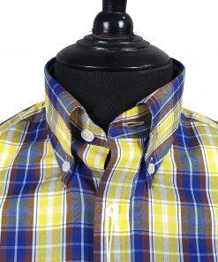 Blue Yellow Maroon Check Short Sleeve Shirt