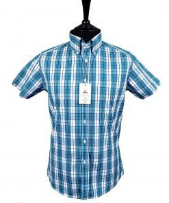 Dark Turquoise Check Short Sleeve Shirt