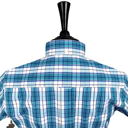 Dark Turquoise Check Short Sleeves Shirt