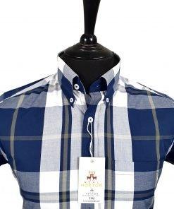 Navy Olive White Check Short Sleeves Shirt