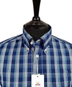Navy Racing Green Check Short Sleeves Shirt