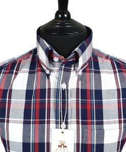 Navy Red White Check Short Sleeves Shirt