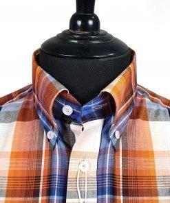 Orange Blue Check Short Sleeves Shirt